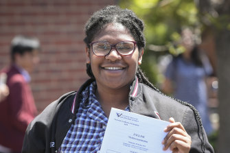 Braybrook College student Amanda Joe is all smiles after the exam.
