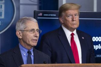 Dr Anthony Fauci at a White House briefing with then-president Donald Trump in 2020.