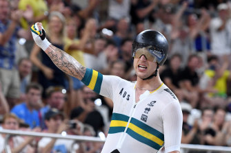 Sam Welsford, pictured at the Brisbane Track World Cup, won at the road cycling world championships in torrid conditions.