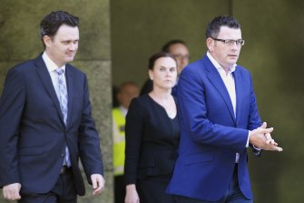 Jane Garrett (back) with Daniel Andrews in 2015 when she was a minister.