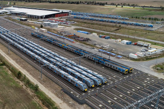 Some of the new High-Capacity Metro Trains sitting unused in a specially built Pakenham East rail yard.