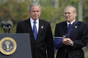 Former President George W. Bush and former Defence Secretary Donald Rumsfeld in 2008.