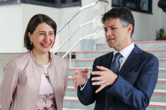 NSW Customer Service Minister Victor Dominello, seen with Premier Gladys Berejiklian, says the state government is researching the development of a national digital birth certificate.
