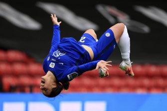 It was a familiar celebration for Sam Kerr's after scoring for Chelsea against Bristol.
