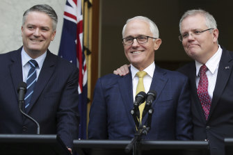 Mathias Cormann with Malcolm Turnbull and Scott Morrison in August 2018.