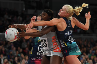 Arm wrestle: Magpie Shimona Nelson and Vixen Liz Watson do battle the last time the two clubs met, in June.