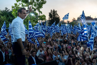 Kyriakos Mitsotakis, the leader of Greece's center-right New Democracy party, at a pre-election rally in Athens, has swept to victory in a general election.
