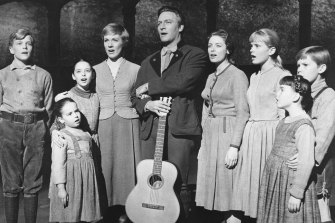 The Von Trapp family singing in a scene from the 1965 film The Sound of Music.