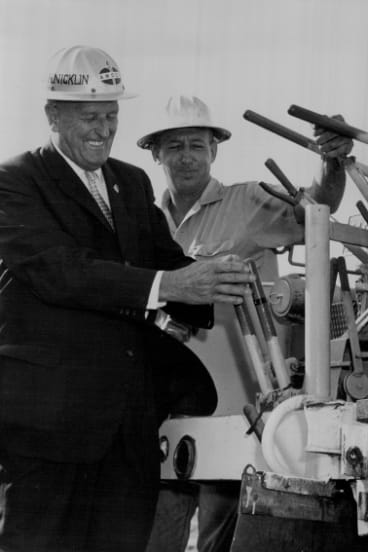 Then-premier of Queensland, Frank Nicklin, at the official ground-breaking ceremony for construction of the refinery on Bulwer Island in 1964.