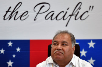 Nauru's President Baron Waqa at a press conference during the Pacific Islands Forum in Funafuti, Tuvalu.