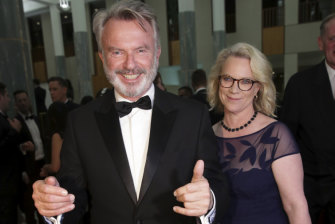 Neill and Laura Tingle arrive for the Mid Winter Ball at Parliament House in  2018.