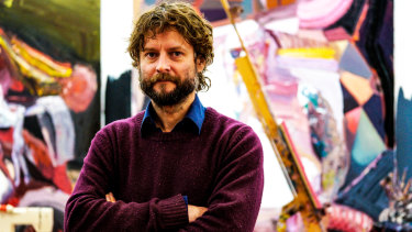 Artist Ben Quilty at his studio in Mittagong.