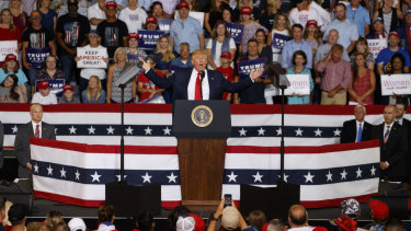 """""""That's why I say: 'Hey, if they don't like it, let them leave. Let them leave',"""" Mr Trump told the rally in North Carolina."""