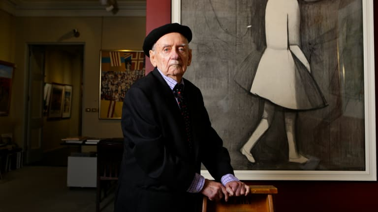 Blackman with his artworks in 2014.