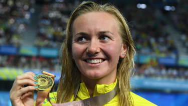 World stage: Ariarne Titmus has had an enormous 12 months, including her golden performance at the Commonwealth Games.