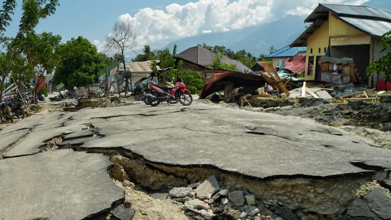 The severe devastation in Sigi to the south of  Palu.