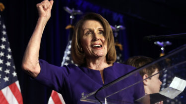 Nancy Pelosi reacts to the incoming results.