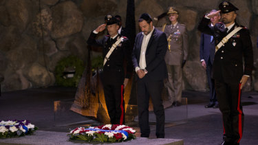 Italian Interior Minister and Deputy Premier Matteo Salvini, attends a memorial ceremony at the Yad Vashem Holocaust Museum in Jerusalem on Wednesday.