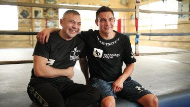 Master and apprentice: Kostya Tszyu and son Tim in Sydney on Thursday.