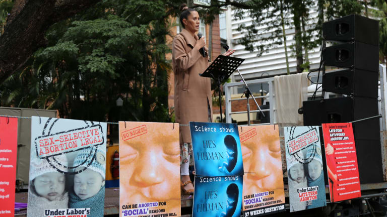 Jaya Taki speaks out at the pro-life rally.