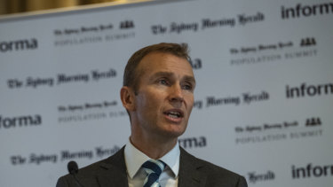 Planning Minister Rob Stokes at the Herald's Population Summit on Monday.