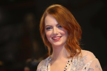 Emma Stone demonstrates the power of red lipstick.