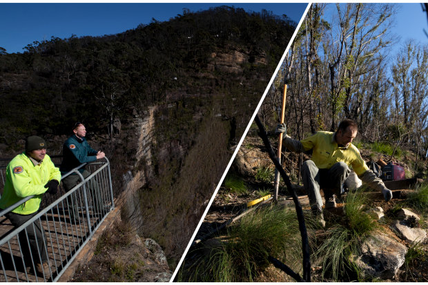 Jon Darragh and Shaun Elwood look out over the Blue Mountains (left); James Ridder repairs the Braeside track in Blackheath.