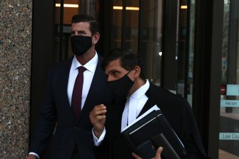 Ben Roberts-Smith and his barrister, Arthur Moses, SC, leave the Federal Court on Monday.