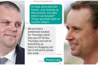 Horse trainer Brett Dodson, a text message exchange between him and Nathan Tinkler, who Dodson says owes him money.