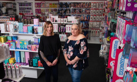 Jules Pearce and Kyla Khattar at their Flirt Adult Store in Hamilton, one of nine across the state.