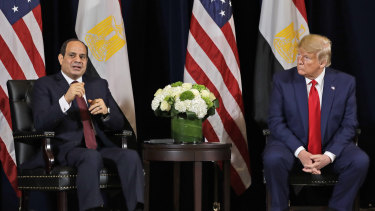 Egyptian President Abdel-Fattah el-Sisi meets with US President Donald Trump during the United Nations General Assembly, on Monday.