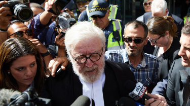 Robert Richter QC leaves the County Court in Melbourne on Wednesday.