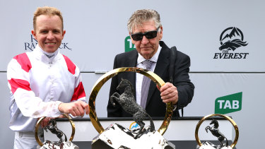 Jockey Kerrin McEvoy with trainer Les Bridge at the presentation after Classique Legend's victory last year.