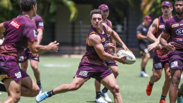Brodie Croft in action during a Brisbane Broncos team training session in Brisbane on Monday.