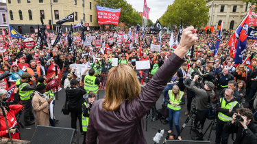 A recent Melbourne union rally in support of  changes to workplace laws