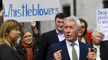 Lawyer Bernard Collaery addresses the media outside the Supreme Court in Canberra earlier this month.