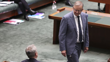Former opposition leader Bill Shorten and Opposition Leader Anthony Albanese during question time in Parliament last month.