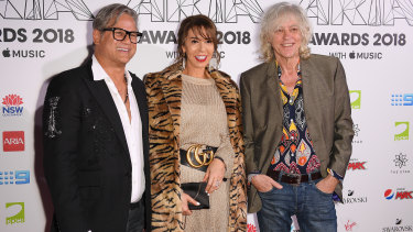 Jon Stevens (L) , Heloise Pratt and Sir Bob Geldof at the ARIAS.