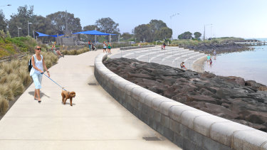 The foreshore masterplan forNorth Road  includes a concrete terrace to guard against erosion.