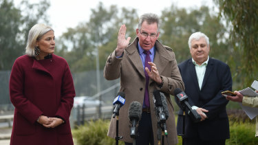 Albury mayor Kevin Mack (centre) when the border checkpoint was set up in July.