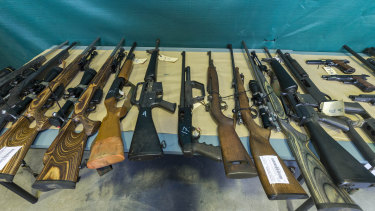 Some of the firearms seized in Queensland last year as part of Operation Quebec Camouflage.