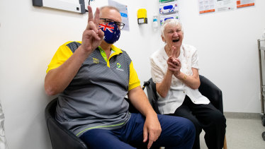 Scott Morrison received his second dose alongside 84-year-old aged-care resident Jane Malysiak.