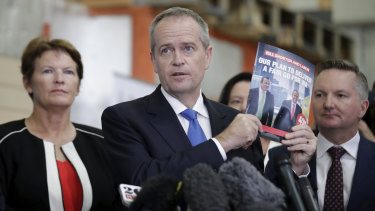 Labor Pearce candidate Kim Travers with  Opposition Leader Bill Shorten at the North Metropolitan TAFE Clarkson campus on Wednesday.