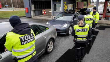Customs and police at the border between Norway and Sweden in Svinesund, Norway in March.