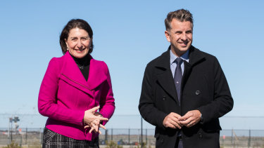 NSW Premier Gladys Berejiklian and Transport Minister Andrew Constance in Mascot.