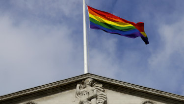 The rainbow flag flies above the Bank of England to celebrate the unveiling of the new fifty pound note.