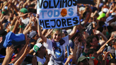 Supporters of Alberto Fernandez celebrate his inauguration as president outside the presidential palace in Buenos Aires.