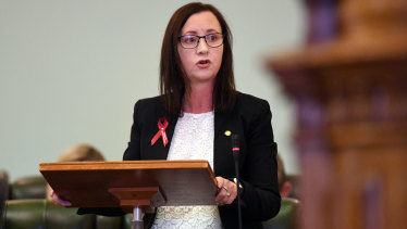 Queensland Attorney-General Yvette D'Ath speaks in Parliament on Wednesday.