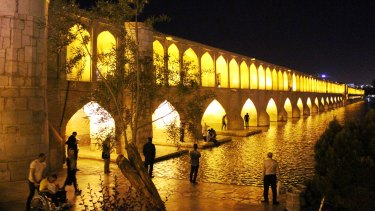 Si-o-se-pol is the largest of eleven bridges on the Zayanderud River in Isfahan, Iran.