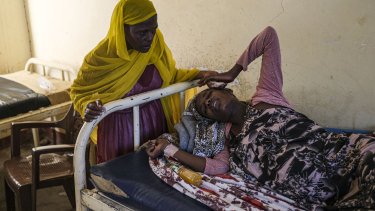 A Tigray woman goes into labour at an understaffed clinic run by the Sudanese Ministry of Health with assistance from Doctors Without Borders, in the Sudanese border village of Hamdayet.